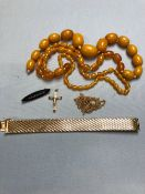 A 9ct GOLD VINTAGE CRUCIFIX, A 19 GROSSE 64 GERMANY PLATED BRACELET, A PLATED PENDANT CHAIN, AN
