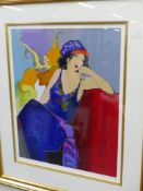 ITZAHAK TARKAY (1935-2012). ARR. IN REPOSE. PENCIL SIGNED LIMITED EDITION COLOUR PRINT. 67 x 54cms.
