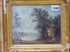 20th.C. FRENCH SCHOOL. A BARBIZON RIVER LANDSCAPE. OIL ON PANEL. BEARS SIGNATURE AND INSCRIBED