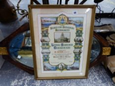 AN ART DECO WALL MIRROR AND A PRINTED LONG SERVICE CERTIFICATE.