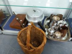 AN EKCOMATIC PRESSURE COOKER, A WICKER BASKET, CASED WORK TOOLS, SILVER PLATED WARES, TWO MILK