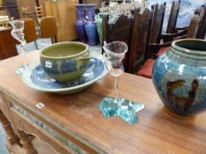 A LARGE ART POTTERY BOWL BY WILLIAM PLUMTREE, A SIMILAR LIPPED EWER, A BLUE GLAZED VASE, AND TWO SIG