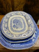 FOUR 19th C. BLUE AND WHITE PLATTERS.