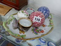 TWO ANTIQUE GLAZED BOULE, A HEREND SMALL TRAY, TWO PORCELAIN CUPS, AND A LIDDED BOWL WITH CROSS