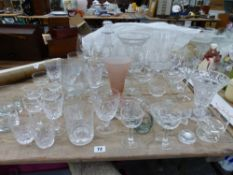A QUANTITY OF VARIOUS GLASS WARES. `