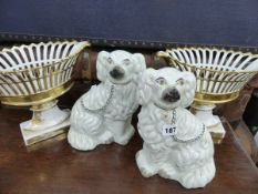 A PAIR OF GILDED PORCELAIN PIERCED BASKETS, AND A PAIR OF STAFFORDSHIRE SPANIELS.