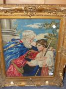 A VICTORIAN NEEDLEPOINT PANEL OF TWO FIGURES, 47 X 37cms.