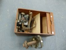 A LARGE BLOW LAMP AND VARIOUS TOOLS, IN A SMALL FILE CABINET.