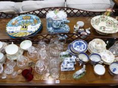A LARGE SELECTION OF ORNAMENTAL AND DECORATIVE CHINA WARES, CUT GLASS, ETC.