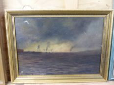 JOSEPH FISHER (EARLY 20th.C. ENGLISH SCHOOL). THE MERSEY 10.20AM JUNE 2nd 1913. SIGNED, OIL ON