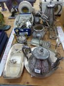 A SILVER PLATED TEA SET AND OTHER PLATED WARES.