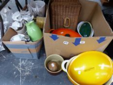 A LE CREUSET ORANGE PAN AND COVER, A YELLOW SIMILAR EXAMPLE UNSIGNED, KITCHENALIA ETC.