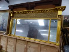 19TH C. GILT FRAMED THREE PLATE OVER MANTLE MIRROR.