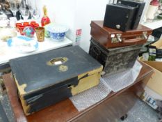 TWO DEED BOXES, A SMALL SUITCASE AND TWO BOX BROWNIE CAMERAS.