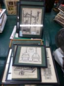 NINE ANTIQUE ENGRAVINGS, STEAM MACHINERY AND VARIOUS RELATED BOOKS.