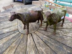TWO CAST IRON COW FIGURES.