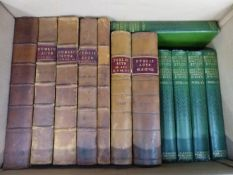 SEVEN LEATHER BOUND BOOKS 'PUBLICACTS', AND OTHER VARIOUS BOOKS.