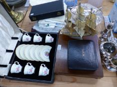 A BOXED HAMMERSLEY TEA SET, VARIOUS CUTLERY, PLATED WARES AND LINEN.