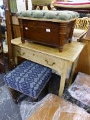 A VICTORIAN PINE SIDE TABLE, A COAL BOX AND A TALL DRESSING STOOL.