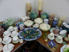 A QUANTITY OF VINTAGE AND LATER DECORATIVE CHINAWARES, ART DECO TUREENS, QTY OF MARBLES, ETC.