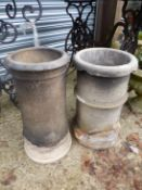 TWO SMALL CHIMNEY POTS.