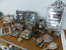 A QUANTITY OF DECORATIVE PLATED PHOTO FRAMES, MIRROR, TABLE BOXES, ETC.
