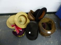 AN ANTIQUE MILLINERY HAT MOULD, A CHRISTYS LONDON BOWLER HAT, A MACQUEEN LONDON BOATER, AN ANTIQUE