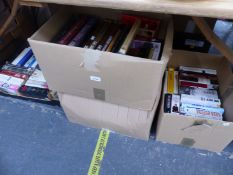 FOUR BOXES OF VARIOUS BOOKS.