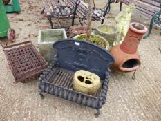 TWO FIREGRATES, A CHIMENEA, GARDEN PLANTERS, ETC.