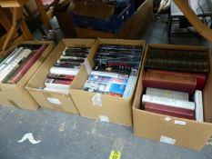 SIX BOXES OF VARIOUS BOOKS.