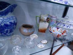 BLUE AND WHITE LARGE JUG, IMARI BOWL AND OTHER CHINA.