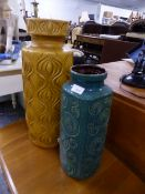 TWO GERMAN ART POTTERY VASES.
