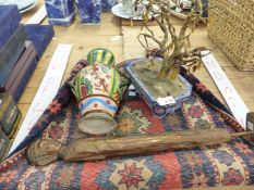 AN ORIENTAL ENAMEL BOWL WITH GLASS HUNG TREE, A SMALL EASTERN RUG, AN INDONESIAN FIGURE AND A
