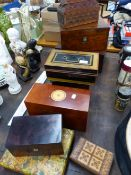 TWO VICTORIAN WALNUT BOXES, A CASH TIN, MAHOGANY BOXES AND OTHERS.