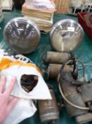 A PAIR OF VINTAGE MOTORCAR HEADLAMPS, A LUCAS ALTERNATOR AND THREE OTHERS, MOTORCYCLE MAGAZINES,