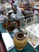 A GOOD MIXED COLLECTION OF ORNAMENTAL WARES, INCLUDING AN EDWARDIAN SEWING BOX, METAL CAGES,