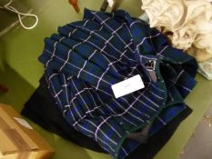 """TWO """"BEST IN SCOTLAND"""" ROYAL MILE EDINBURGH SCOTTISH HIGHLAND KILTS, ONE BLACK AND ONE IN GREEN,"""