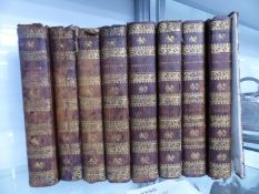 BOOKS, THE SPECTATOR, EIGHT LEATHER BOUND VOLUMES, c.1793.