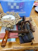 A VINTAGE CHESS BOARD AND DIE CAST SOLDIER PIECES, A BRASS TAZZA, ANTIQUE KEYS, CORKSCREW, ETC.