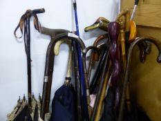 A LARGE QUANTITY OF WALKING STICKS, UMBRELLAS ETC INC. SOME ANTIQUE SILVER MOUNTED EXAMPLES.