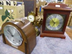 A BRASS ANNIVERSARY CLOCK, AN ART DECO MANTLE CLOCK, A MAHOGANY CASED BRACKET CLOCK AND A POWER