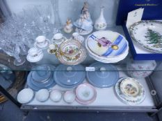 A QUANTITY OF DECORATIVE CHINA AND GLASSWARE AND DOULTON DINNER WARES.