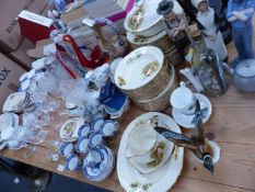 A MEAKIN DINNER SERVICE, BOOTHS COFFEE CANS, PARAGON TEA WARES AND VARIOUS OTHER CHINA AND GLASS.