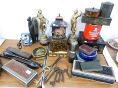 TWO CARVED SANDALWOOD BOXES, PAIR OF SPELTER FIGURES, TIN BOXES, ETC.