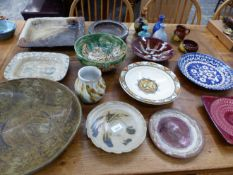 VARIOUS ART POTTERY BOWLS AND PLATES.