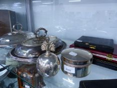 TWO SILVER PLATED VEGETABLE TUREENS, A PLATED TABLE LIGHTER, SILVER TEA SPOONS, ETC.