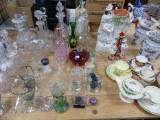 TEN CUT GLASS DECANTERS, THREE STAFFORDSHIRE FIGURES, TEAWARES, JUGS, ETC.