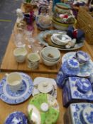 FOUR BLUE AND WHITE TEA CADDYS, A DOULTON JARDINIERE, TANG STYLE CAMEL AND OTHER CHINA AND GLASS