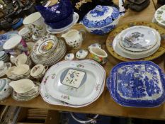 A WORCESTER WALL CLOCK, TWO COPELAND MEAT PLATTERS AND VARIOUS DINNERWARES.