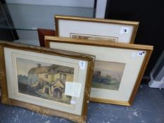 FIVE ANTIQUE AND LATER WATERCOLOURS.